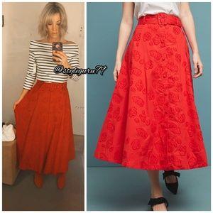 NWT, Anthropologie, Maeve Sandra Belted Red Skirt